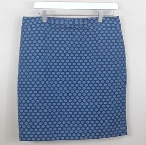 LOFT Blue polka dot pencil skirt size 8